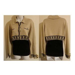 Vintage Nils winter colorblock sweater M wool blnd